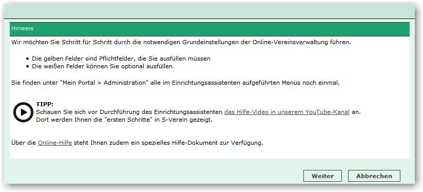 Einrichtungsassistent Online Hilfe Dfbnet Verein